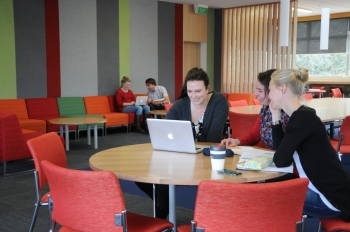 Photo of students in the Epsom Campus student space