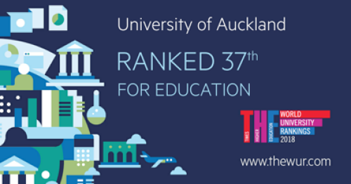 The University of Auckland is ranked #37 in the 2018 Times Higher Education World University Rankings by Subject: Education