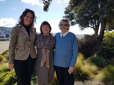 Beverley Randell with Jan Gaffney and Meg Jacobs.